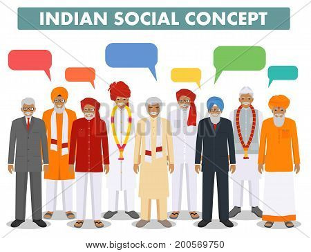 Indian senior men standing together in row in different traditional national clothes and speech bubbles on white background in flat style. Flat design people characters. Social concept.