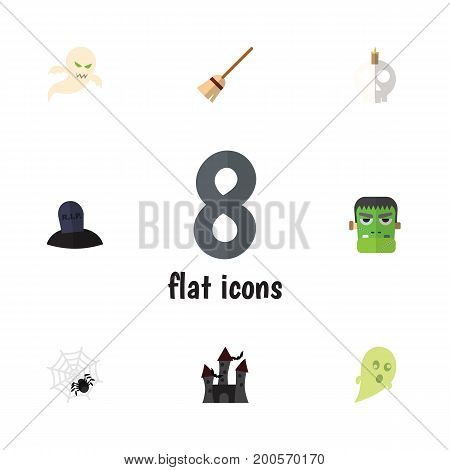 Flat Icon Halloween Set Of Fortress, Broom, Monster And Other Vector Objects