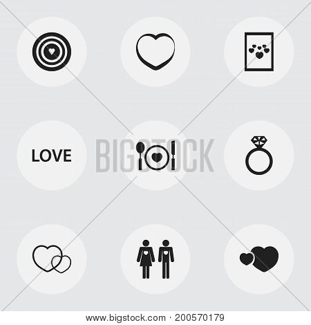 Set Of 9 Editable Amour Icons. Includes Symbols Such As Love, Decoration, Darling And More
