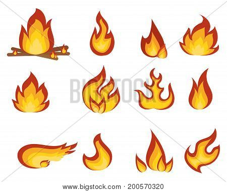Vector set of flame. A collection of stylized fires. A fire.