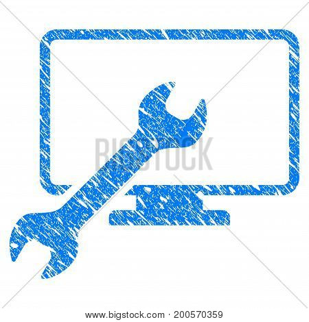 Grunge Wrench Configure Desktop icon with grunge design and dust texture. Unclean vector blue pictogram for rubber seal stamp imitations and watermarks. Draft sticker symbol.