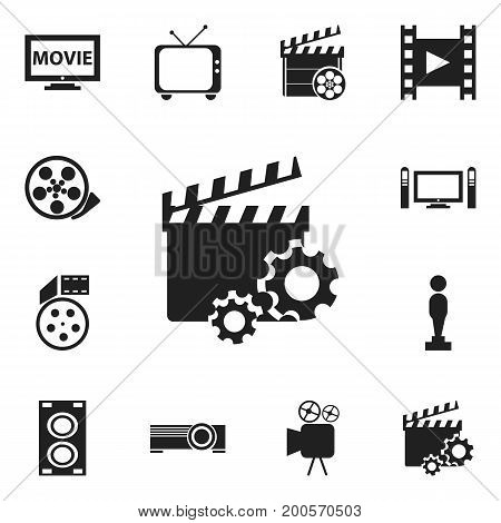 Set Of 12 Editable Filming Icons. Includes Symbols Such As Film, Tape, Oscar And More