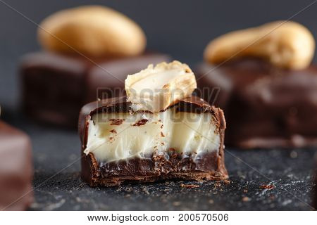 Cut Chocolate Candy With Vanilla And Chocolate Ganache