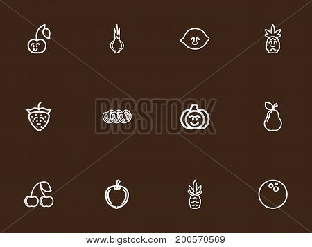 Set Of 12 Editable Kitchenware Outline Icons. Includes Symbols Such As Lime, Gourd, Berry And More