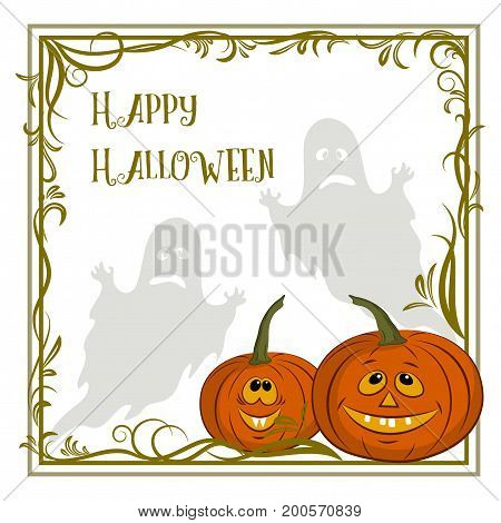 Background for Holiday Halloween Design, Cartoon Ghosts Silhouettes and Pumpkin Jack O Lantern in a Frame with a Floral Pattern. Vector