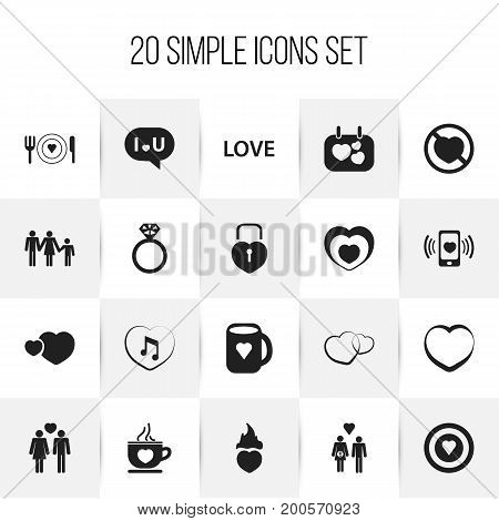Set Of 20 Editable Passion Icons. Includes Symbols Such As Family, Prohibit, Romantic And More