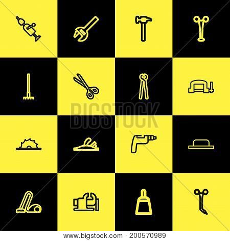 Set Of 16 Editable Apparatus Outline Icons. Includes Symbols Such As Clamp, Handle Hit, Circle Blade
