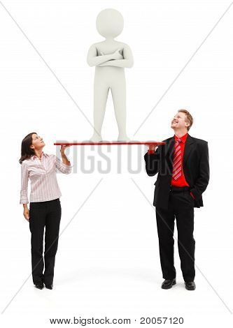 Real Man And Woman Holding 3D Man