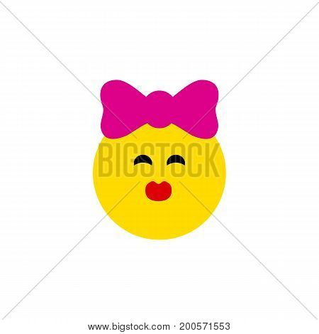 Caress Vector Element Can Be Used For Kiss, Smile, Emoji Design Concept.  Isolated Kiss Flat Icon.