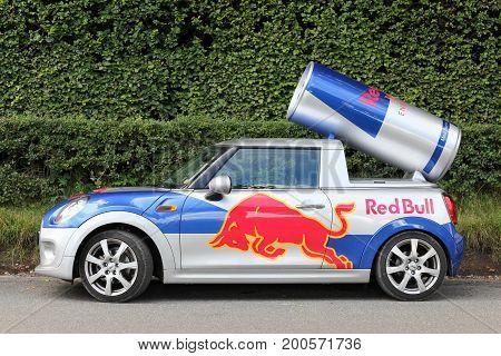 Aarhus, Denmark - August 19, 2017: Red Bull advertising Mini Cooper car in Denmark