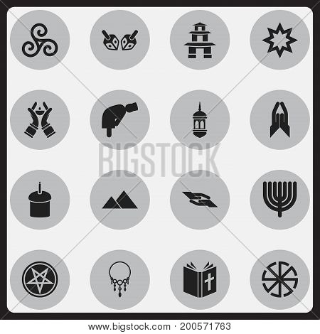 Set Of 16 Editable Dyne Icons. Includes Symbols Such As Mullah, Jewish, Pagoda And More