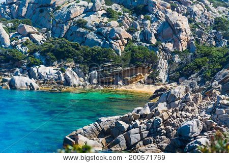 Rocks in Capo Testa shore. Sardinia Italy