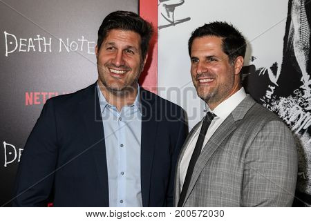 NEW YORK, NY-AUGUST 17:Screenwriters Charley Parlapanides (L) and Vlas Parlapanides attend the 'Death Note' New York premiere at AMC Loews Lincoln Square 13 theater on August 17, 2017 in New York City