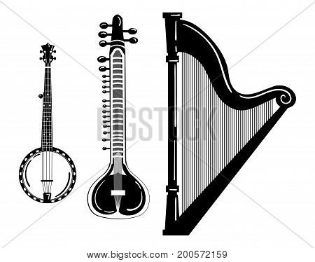 A set of musical instruments. Stylized harp. Black and white banjo illustration. Sitar. Collection of stringed musical instruments.
