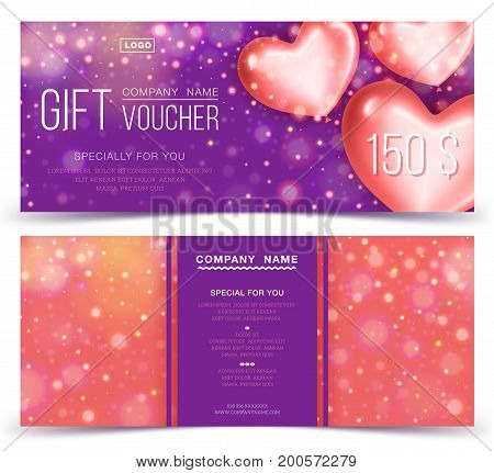 Gift voucher template with red hearts 150. Concept for gift coupon banner flyer invitation ticket. Two side of discount voucher or gift certificate layout.