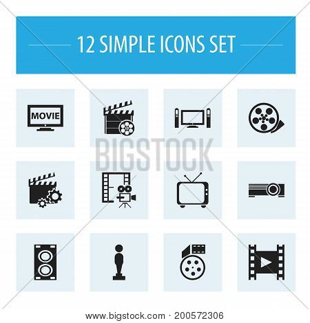 Set Of 12 Editable Cinema Icons. Includes Symbols Such As Projector, Oscar, Tape And More