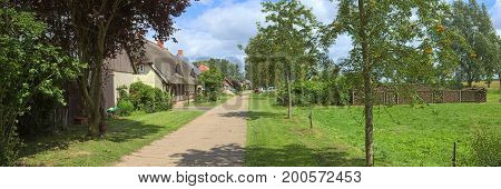 Street With Various Houses Listed As Monuments At Jager, Mecklenburg-vorpommern, Germany