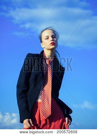 Model In Red Tie And Jacket