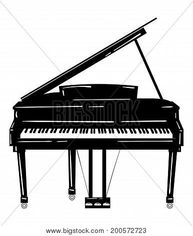 Vector illustration of a piano. Keyboard musical instrument. Stylized grand piano. Musical emblem.
