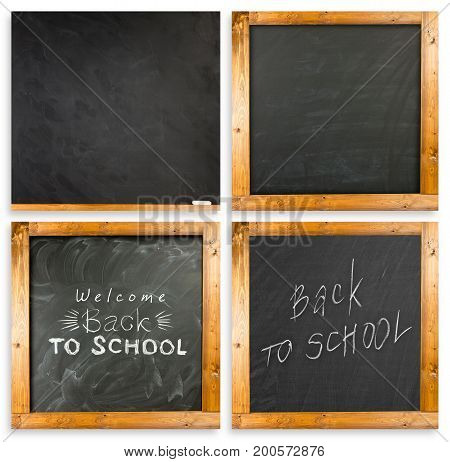 Back to school handwritten with white chalk on a blackboard. Set of chalkboards with frame