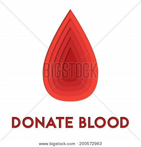 Donate blood 3d abstract paper cut out illlustration of blood drop. Vector colorful template in carving art style. Eps10