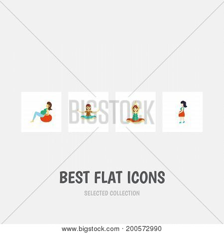 Flat Icon Pregnancy Set Of Mother, Lady, Meditation And Other Vector Objects