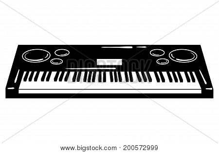 Vector illustration of a synthesizer. Keyboard musical instrument. Electonic music. Musical emblem.