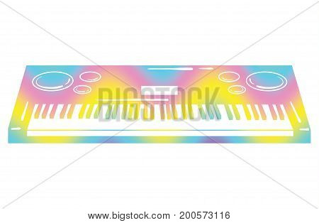 Vector illustration of a synthesizer. Keyboard musical instrument. Electonic music. Color synthesizer logo.