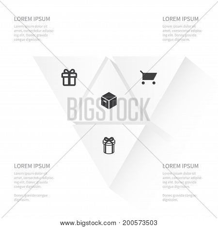 Icon Magazine Set Of Pushcart, Giftbox, Present And Other Vector Objects