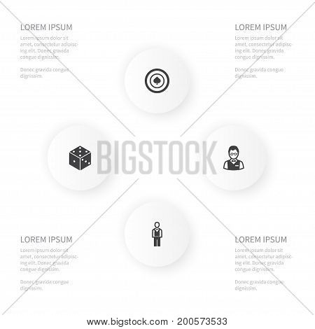 Icon Poker Set Of Person, Chipper, Dice And Other Vector Objects