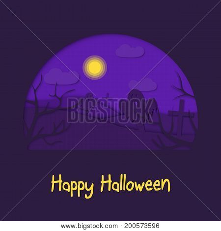 Happy halloween 3d abstract paper cut illlustration of cemetery, moon, ghosts. Vector colorful template in carving art style. Eps10
