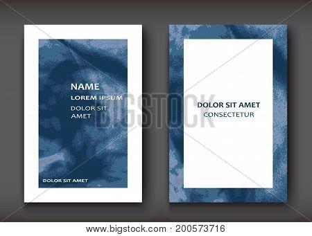 Blue Watercolor Explosion Shape Artistic Covers Design Set. Deco