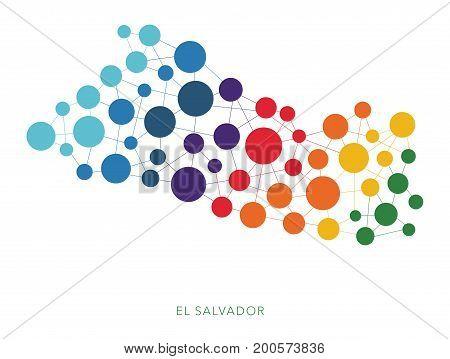 dotted texture El Salvador vector rainbow colorful background