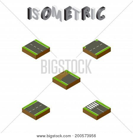 Isometric Way Set Of Single-Lane, Strip, Cracks And Other Vector Objects