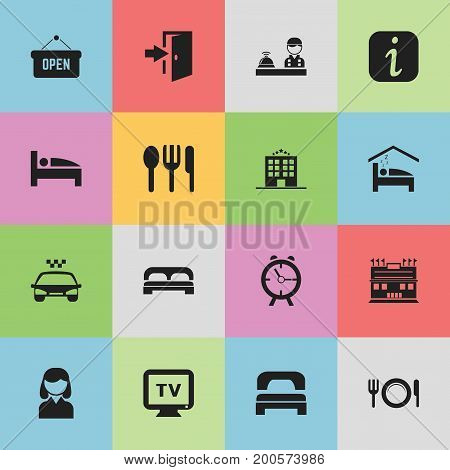 Set Of 16 Editable Travel Icons. Includes Symbols Such As Alarm, Residence, Entry And More