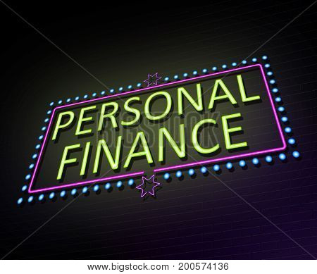 3d Illustration depicting an illuminated neon sign with a personal finance concept.
