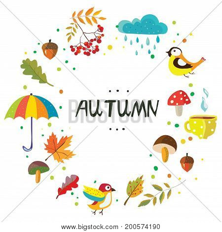 Autumn frame with the nature elements and weather cute style vector graphic illustration