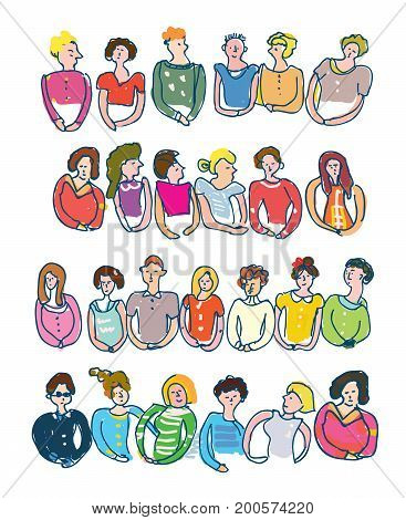 Groups of people for the banners sketchy style. Vector graphic illustration