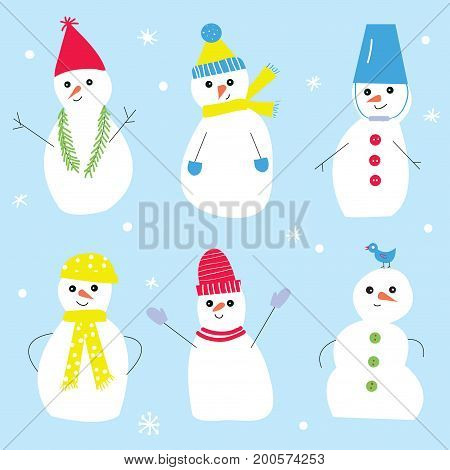 Snowmen set for the Christmas decorations funny style. Vector graphic illustration.