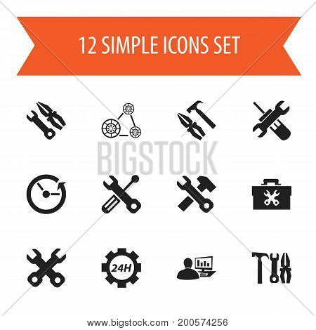 Set Of 12 Editable Toolkit Icons. Includes Symbols Such As Utility, Maintenance, Time And More