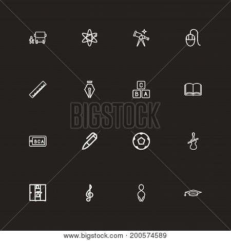 Set Of 16 Editable Teach Outline Icons. Includes Symbols Such As Inkpen, Teaching, Pen And More