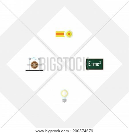 Flat Icon Study Set Of Electrical Engine, Chemical, Theory Of Relativity And Other Vector Objects