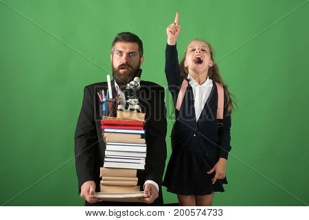 Teacher And Schoolgirl With Scared And Enthusiastic Faces