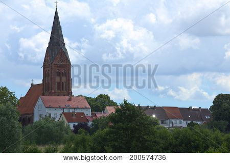 View To The Town Of Guetzkow, Mecklenburg-vorpommern, Germany
