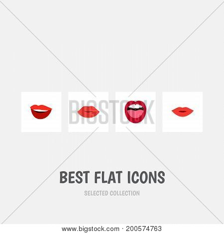 Flat Icon Lips Set Of Tongue, Pomade, Lips And Other Vector Objects