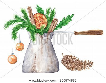 winter holiday card with cezve, fir tree branches, orange, cinnamon and cone isolated on white background