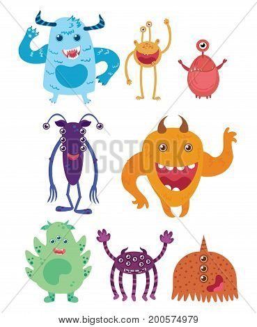 A set of cartoon monsters. Collection of happy monsters. Illustration for children. Mythical animals. Mutants.