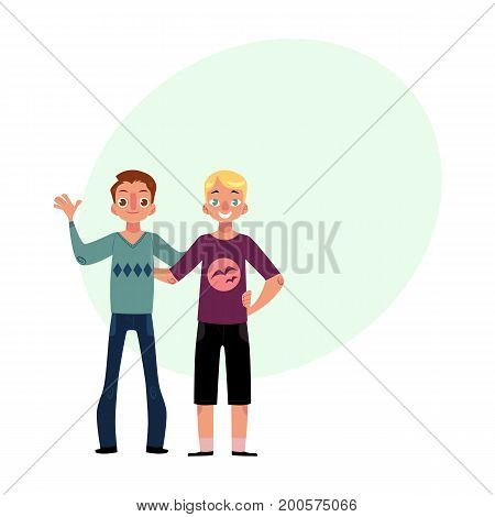 Male friendship - two boys, men, friends hugging each others, waving, cartoon vector illustration with space for text. Front view portrait of boys, men, friends standing, hugging each other