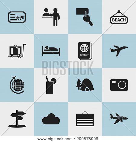 Set Of 16 Editable Journey Icons. Includes Symbols Such As Camera, Invitation, Tabernacle And More