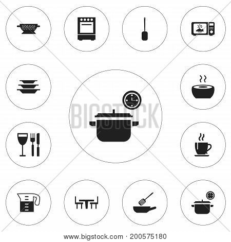 Set Of 12 Editable Restaurant Icons. Includes Symbols Such As Coffee, Soup, Frying Pan And More